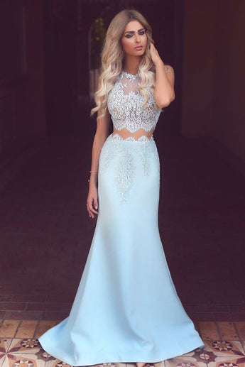 Light Blue Satin Prom Dress,Sexy Lace See-through Mermaid Long Prom Dresses OK188