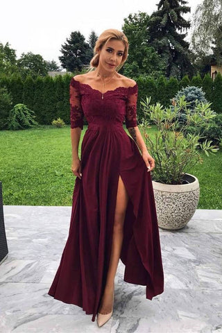 8be89eb05d8 Off the Shoulder Half Sleeve Burgundy Modest Prom Dress