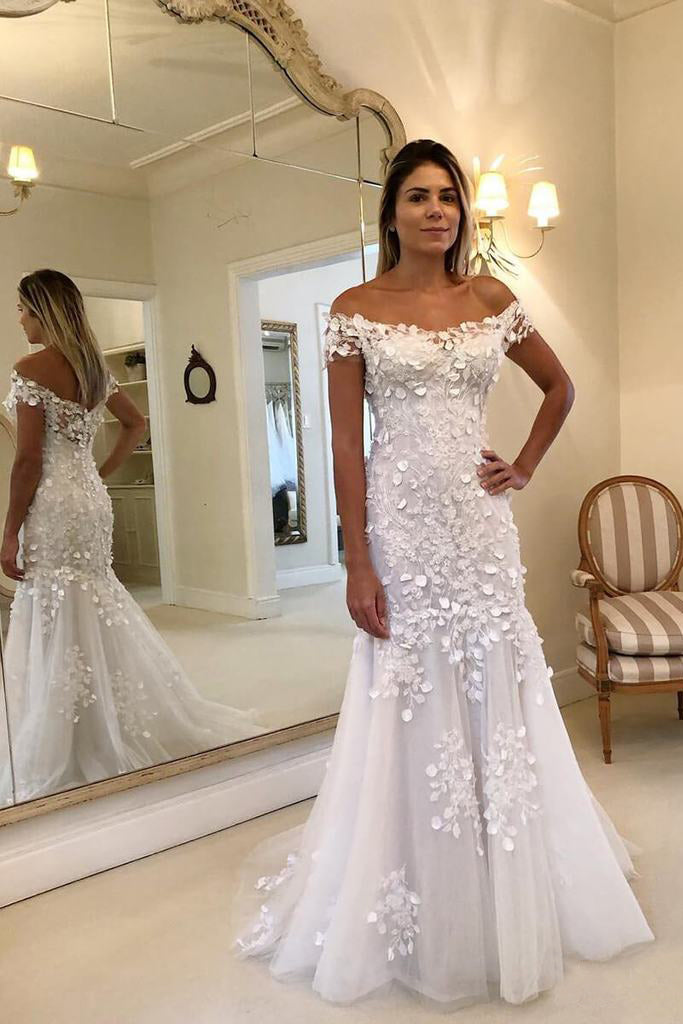 Off The Shoulder Sheath Mermaid Wedding Dresses Lace Appliques Wedding Gowns OKP94
