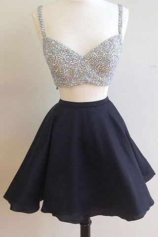 Sexy Homecoming Dresses,Black Dresses,Two-piece Homecoming Dresses,Red Cocktail Dresses,2 Pieces Prom Dresses,Beading Homecoming Dresses,Black Prom Dresses