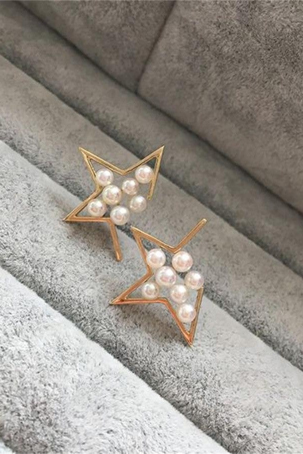 Elegant Perfect Round Akoya Pearl Earrings with 18K Gold Star Posts P6