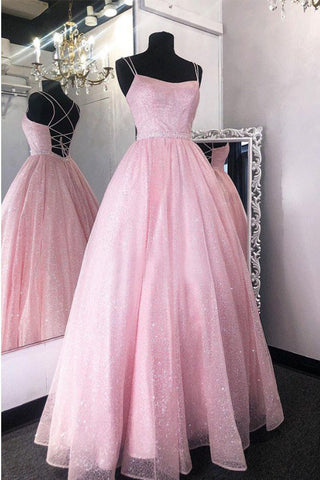 Stunning A-Line Long Pink Sequin Prom Dress Formal Evening Dresses OKW91