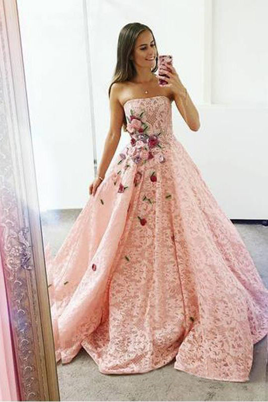 Strapless Pink Lace Long Ball Gown with Floral Embroidery Cheap Prom Dresses OKJ33