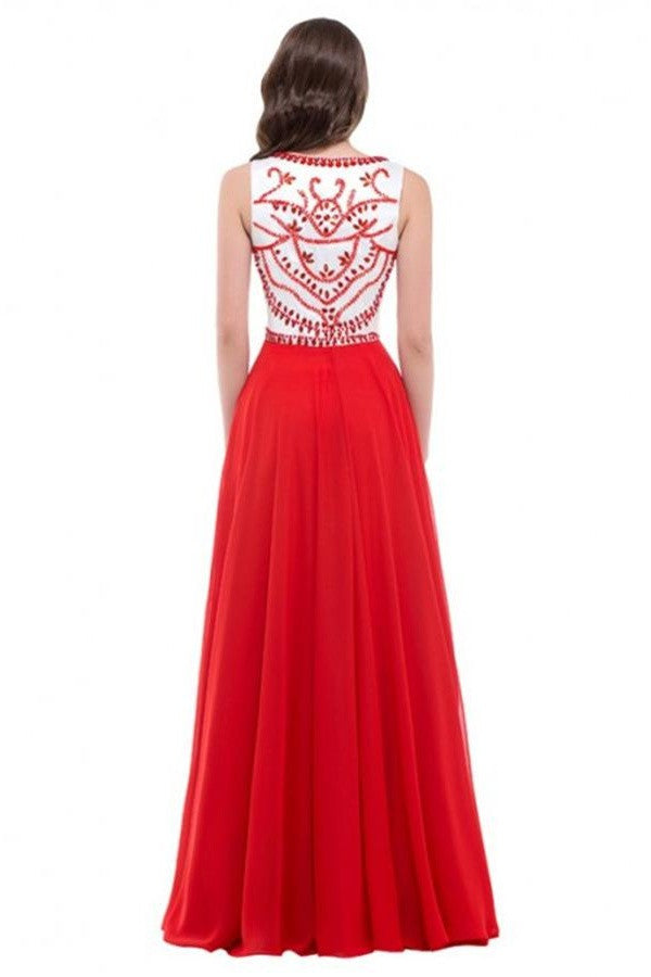 A-line Long Red Beaded Chiffon Prom Dresses OK3