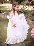 Ivory A-Line Long Sleeves Jewel Bowknot Lace Floor-Length Flower Girl Dress OK708