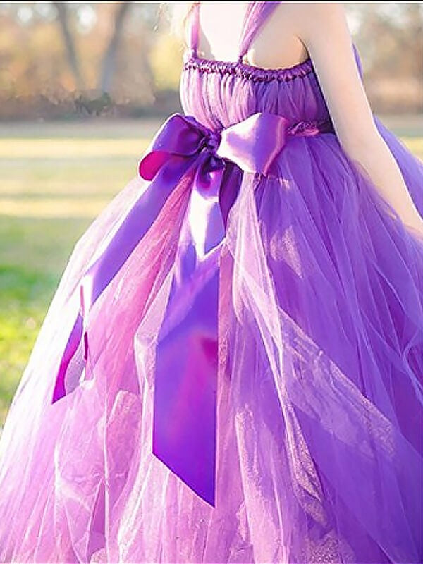 Fuchsia Ball Gown Straps Sleeveless Bowknot Floor-Length Tulle Flower Girl Dress OK706