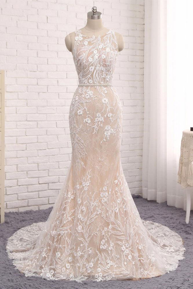 Unique Prom Dress,Mermaid Prom Dress,Sleeveless Evening Gowns,Lace Wedding Dresses,Long Wedding Dress,Sweep Train Wedding Gown