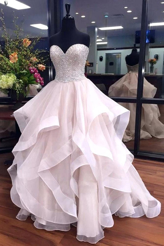Gorgeous A-Line Sweetheart Ruffles Puffy Prom Dress with Beading OK843