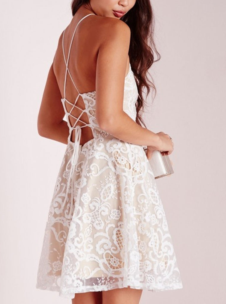 A-line Halter Short White Criss-Cross Straps Lace Homecoming Dresses,Graduation Dresses OK343