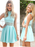 Modest Blue Short Prom Dresses,Cute A Line Junior Homecoming Dresses OK335
