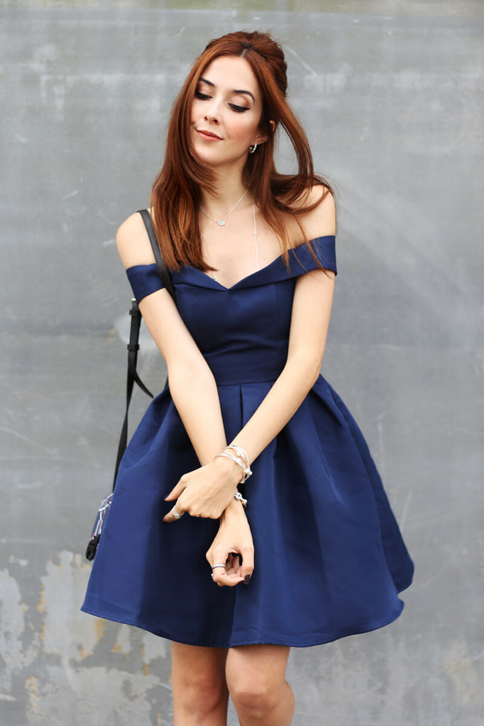 Simple Dark Blue A-Line Off-The-Shoulder Satin Short Homecoming Dress With Pleats OK468