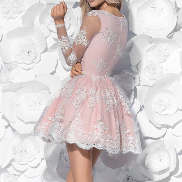 Cute A-Line V-Neck Long Sleeves Pink Lace Short Homecoming Dress,Graduation Dresses OK330