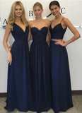 Navy blue Chiffon Simple Lace Long A Line Sleeveless Bridesmaid Dresses OK238