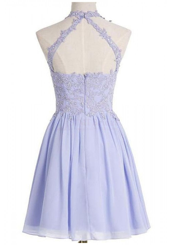 Charming Chiffon A Line Short Homecoming Dress,Sexy Prom Dresses With Appliques OK458