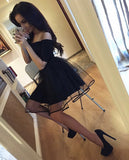 A-Line Off-The-Shoulder Short Sleeves Black Tulle Homecoming Dresses For Juniors OK475