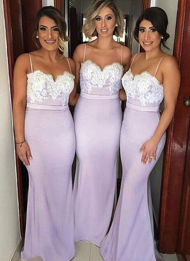 Spaghetti Straps Mermaid Sexy Bridesmaid Dresses, Lace Bridesmaid Dresses 2019 OK162