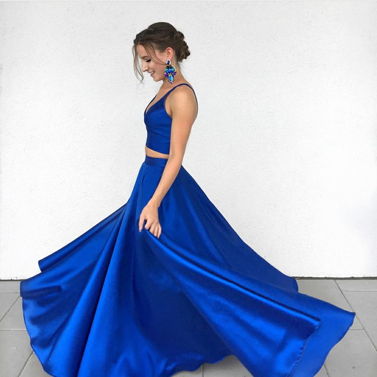 Sexy Royal Blue Two-Piece Long Prom Dress,Simple Satin Blue Formal Evening Dress OK414