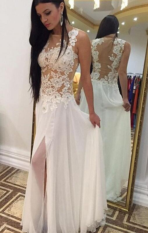 White Prom Dresses,Backless Prom Dress,A-line Prom Gown,Chiffon Prom Dress,Lace Prom Dress,Slit Prom Dress,Appliques Party Dresses,Long Formal Gowns,Evening Dresses