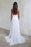 Spaghetti Strap White Chiffon Lace Appliqued V-neck Summer Beach Wedding Dresses OK548