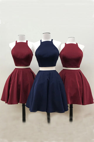 2b7aebff9a Burgundy Short Two Piece Prom Dress