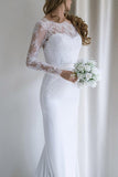Elegant Lace Long Sleeves Sweep Train White Mermaid Wedding Dress OKA46