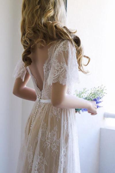 Romantic A-line Backless Lace Short Sleeves V Neck Long Wedding Dress OKA52