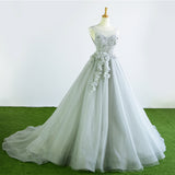 Gray Tulle Court Train Formal Long Prom Dress With Flowers OK942