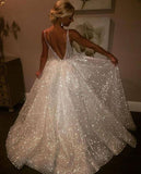 Charming Backless Sequined A Line Long Prom Dresses,Cheap Wedding Dresses OK923
