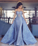 Elegant Sweetheart Mermaid Prom Dress With Detachable Train,Fashion Blue Evening Dresses OK872
