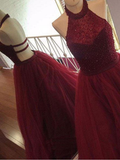 Burgundy Halter Beaded A Line Sleeveless Tulle Long Prom Dress OK992