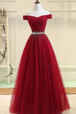 Burgundy A Line Off the Shoulder Beads Long Prom Dress OKI52