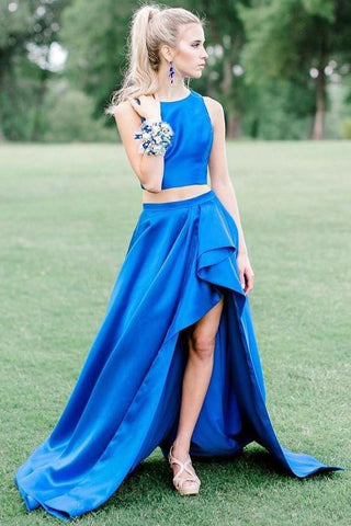 Two Pieces Royal Blue High Low Simple Prom Dresses OKH94