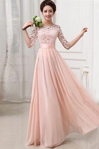 Half Sleeves Pink Lace Chiffon Bridesmaid Dresses,Simple Prom Dresses OKO82