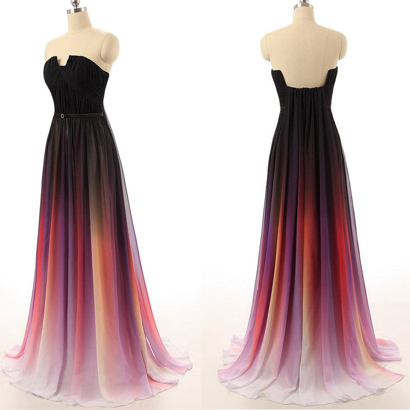 Black Navy Blue Ombre Chiffon Long Prom Dress K146