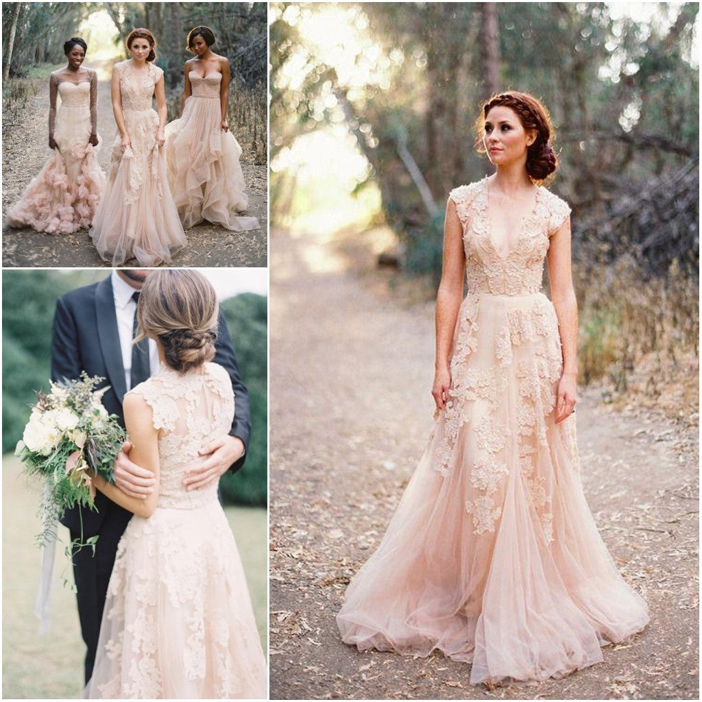Pearl Pink A Line V-neck Sleeveless Floor-Length Tulle Wedding Dress With Lace Appliques OK379