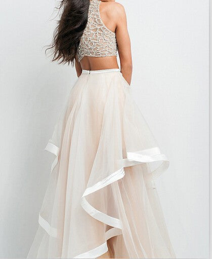 Elegant Two Pieces Beaded A-line Beauty Tulle Prom Dresses For Teens K682