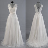 Princess A Line V Neck Ball Gown White Lace Tulle Wedding Dresses With Flowers Belt OK183