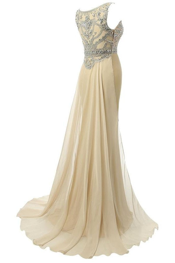 Beauty Mermaid Champagne Long Beaded Prom Party Dresses OK4