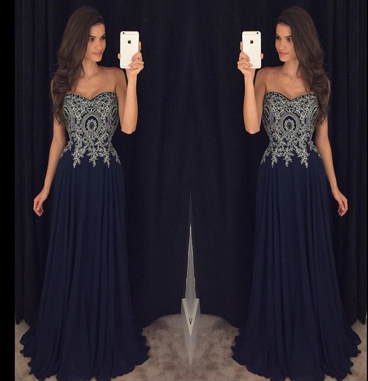 Sweetheart Navy Blue Appliques Chiffon Long Prom Gown OK866