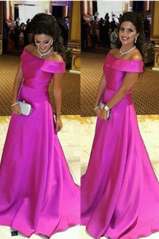 Hot Pink Off Shoulder Formal High Low Simple Satin Long Prom Dresses K667