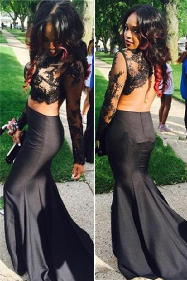 Long Sleeves Backless Lace Satin Black Mermaid 2 Pieces Prom Dresses K669
