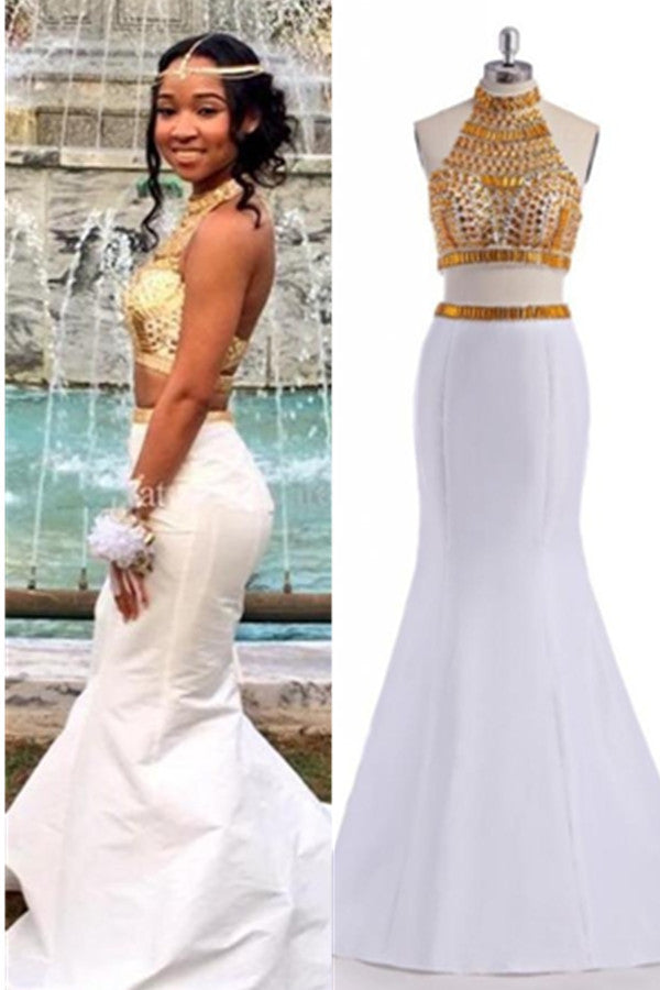 Beautiful White Mermaid Two Pieces High Neck Backless Prom Dresses K664