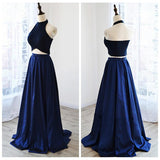 Two Pieces Royal Blue A-line Long Simple Halter Open Back Prom Dresses K663