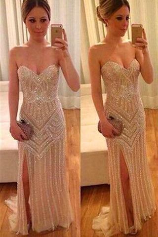 Real Beautiful Long Front Split Sweetheart Handmade Backless Prom Dresses K661