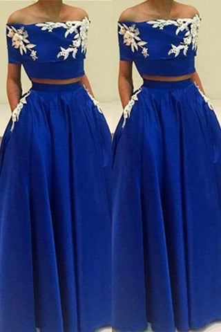 Boat Neckline Royal Blue Half Sleeves Two Pieces A-line Prom Dresses K673