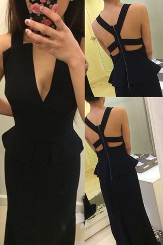 Sexy Black Long Mermaid Backless Deep V-neck Simple Prom Dresses K657