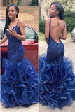 Gorgeous Blue Mermaid Long Open Back Spaghetti Straps Beading Prom Dresses K656