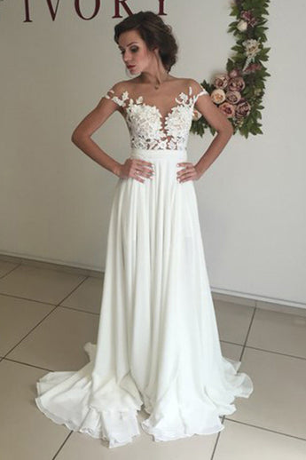 Elegant White Chiffon Wedding Dresses with Appliques, Sweep Train A Line Wedding Dress