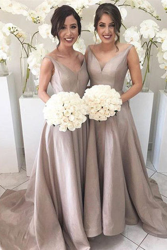 Silver Long A Line Taffeta Bridesmaid Dresses, Best Elegant V neck Bridesmaid Gown OK163