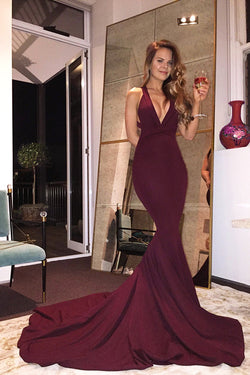 7c88e2292303c Gorgeous V-neck Mermaid Prom Dress with Train, Burgundy Long Prom Dress  2017 Prom